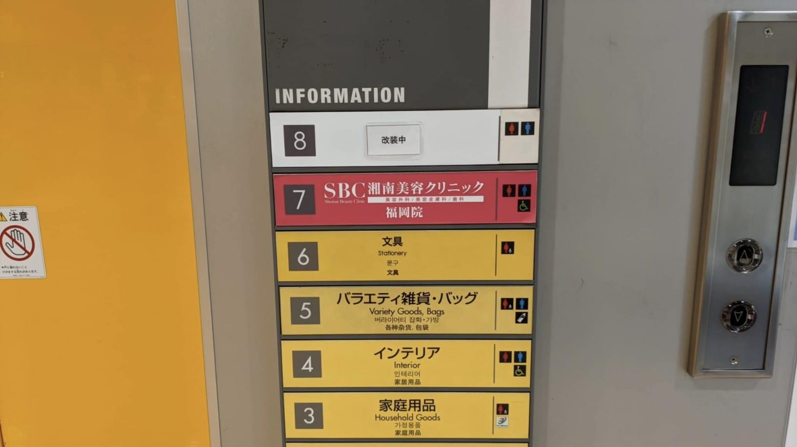 エレベーター前の表示